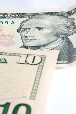 alexander hamilton: close up of a bank note of ten north american dollars Stock Photo
