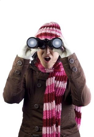 christmas woman holding and looking through binoculars Stock Photo - 5741202
