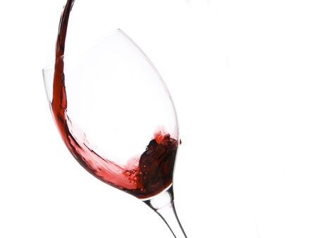 a clear glass of red wine isolated on white background Stock Photo - 5741136