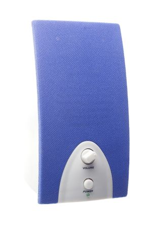 baffle: detail of a blue bass speaker with power and volume controls