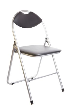 collapsible black metal chair isolated on white background photo