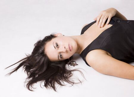 gorgeus: close up of a pretty young girl lying on the floor Stock Photo