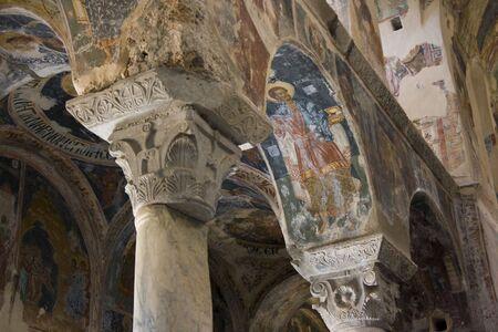 interior of an orthodox old greek dark church