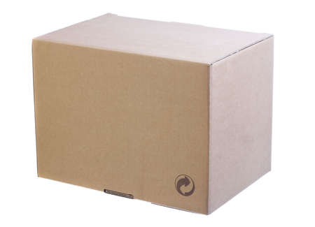 storage box: image of a cardboard closed box isolated over a white background