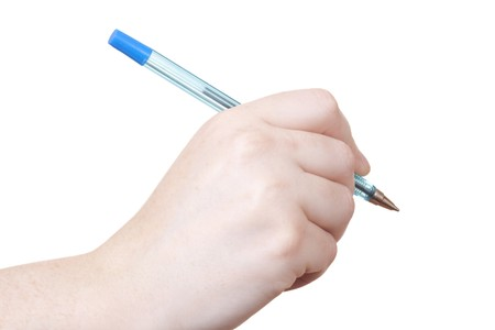 hand writting with a pen isolated on withe background Stock Photo - 6845837
