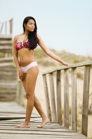 gorgeous sensual young girl with a bikini swimwear in a fashion shot photo