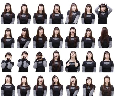 facial gestures: una ni�a posando con muchas y diversas expresiones faciales  Foto de archivo
