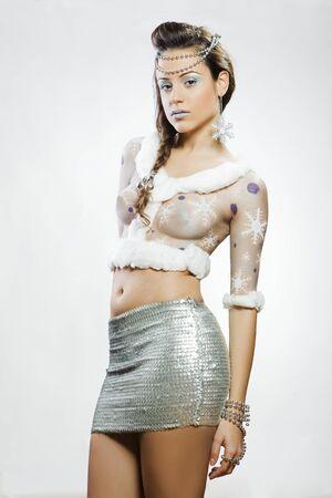 body paint sexy: christmas beautiful girl
