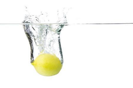 bubble acid: lemon in water Stock Photo