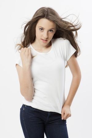 whitespace: funny expression and gesture of a real young girl