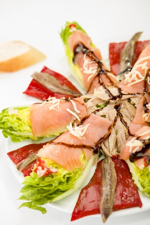 food salmon anchovy salad photo