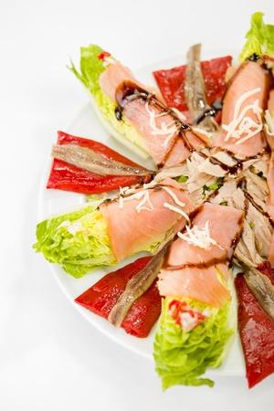 saumon nourriture salade d'anchois Banque d'images - 19795490