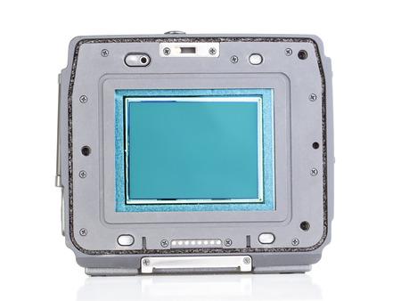 sensor: digital back with sensor part of a professional camera Stock Photo