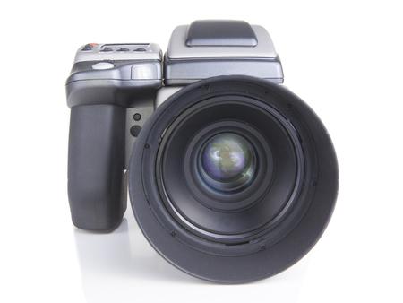 ccd camera: close up of a professional medium format camera and digital back Stock Photo