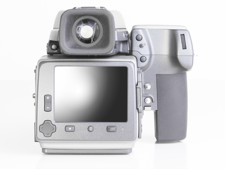 cmos: close up of a professional medium format camera and digital back Stock Photo