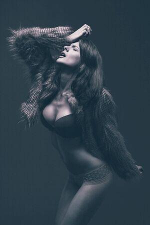 image of fashion woman wearing cool designer clothing photo