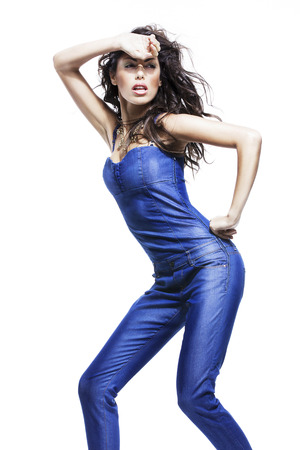 overalls: image of fashion woman wearing cool designer clothing