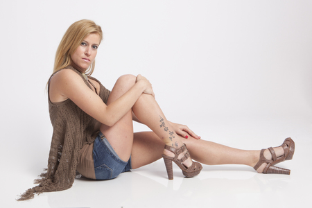 eyeing: real girl in natural poses during a shooting Stock Photo