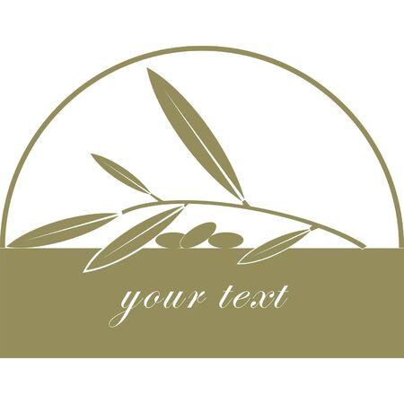 olijf: Olijfolie label  pictogram voor het corporate merk of model van menu Stock Illustratie