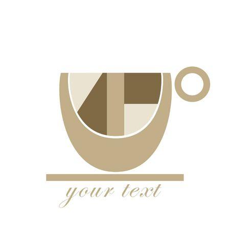 chicchi caff� su sfondo bianco: Etichetta caff�  icona per il marchio aziendale o il modello del menu Vettoriali