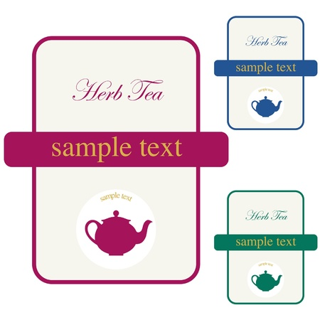 Labels of Herb Tea  icon of the corporate brand or model of menu