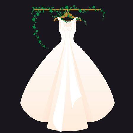 ankleiden: Hochzeitskleid mit schwarzen Backgrounda Rosa Illustration