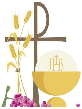 Symbolen van christen, communie Vector Illustratie