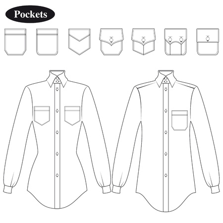 Shirt pockets for female and male Illustration