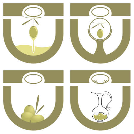 four labels for olive oil Vector