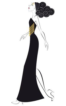 robe noire: Mod�le en robe noire �l�gante