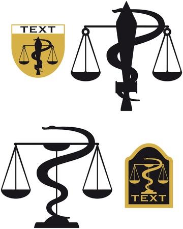 libra serpent sword, symbols suitable for justice and medicine