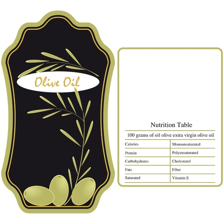 Label for the olive oil with nutritional table Stock Vector - 9877045