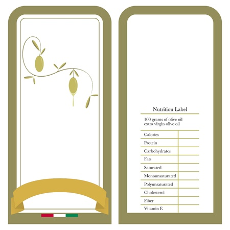 package label for nutritional table with olive oil Vector