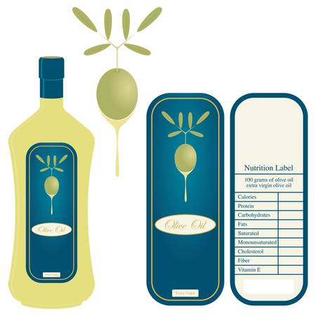 nutritional: Label for olive oil and nutritional table Illustration