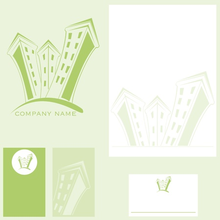 real estate company - mark, charter letter and business card Stock Vector - 10203536