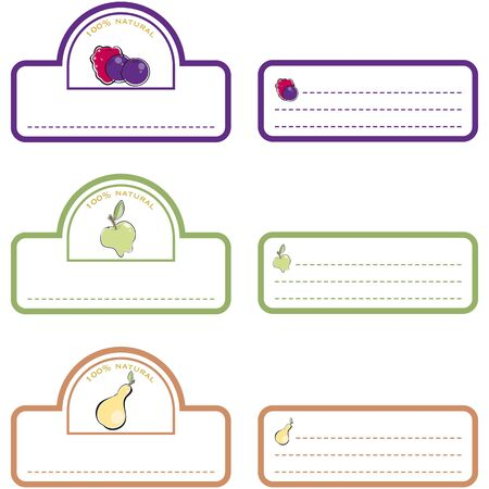 Labels front and back fruits Vector