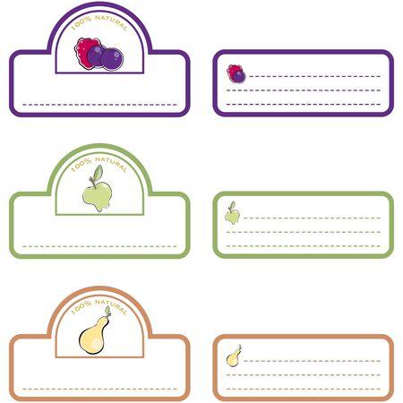 blueberry jam: Labels front and back fruits Illustration