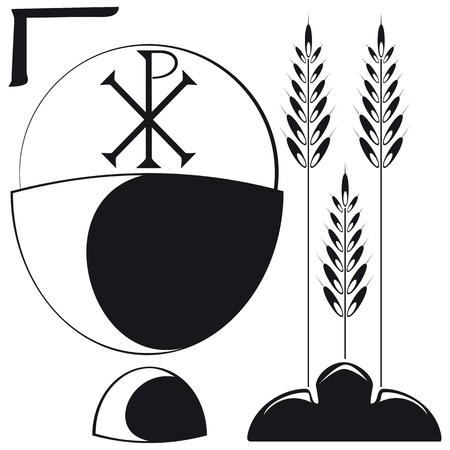 Christian symbols - Chalice, Host, Ears and bread, the graphic symbol is the Byzantine