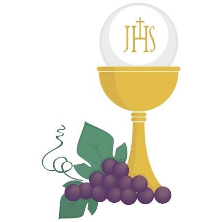 comunion: Ilustración simbólica de la religión, cristianismo, Vectores