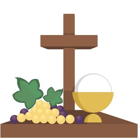 primera comunion: Ilustración simbólica de la religión, cristianismo, Vectores