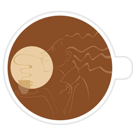 Profile of a woman inside the cup of coffee