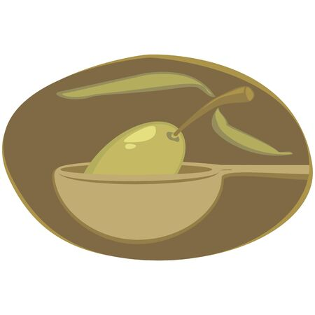 Olives in spoon Vector