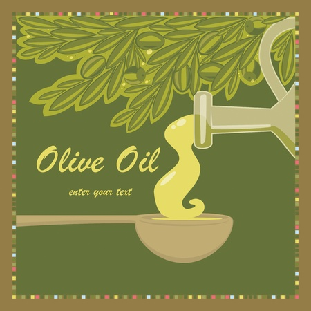 Olive oil in the spoon Vector