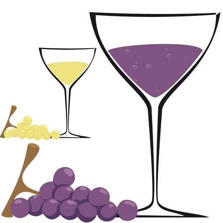 Bicchiere di vino e grappolo d'uva