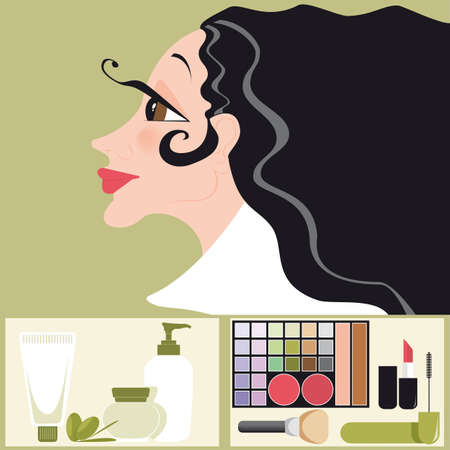 hair blacks: Vector illustration of a woman with hair blacks, cosmetics and skin care