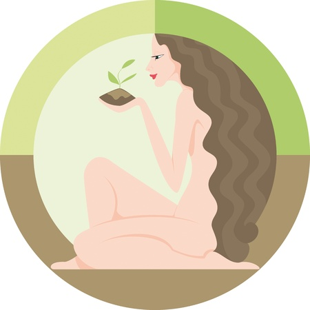 Beautiful young woman in the circle with the earth in hand Vector