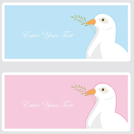 dove with olive branch: First Communion or Confirmation invitation card