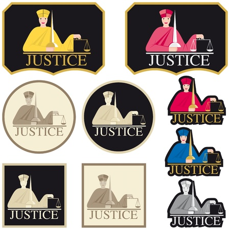 sword act: Justice Labels Illustration