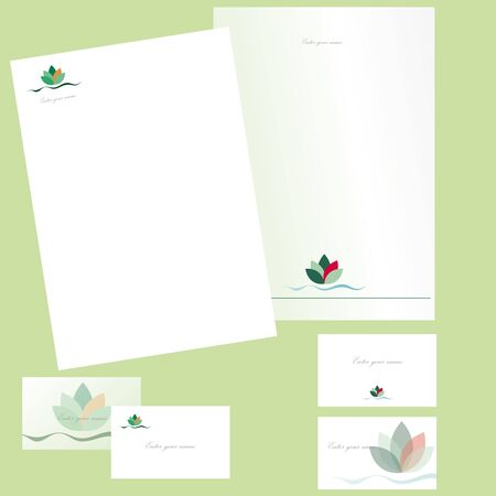 Business cards and letterheads with leaves Illustration