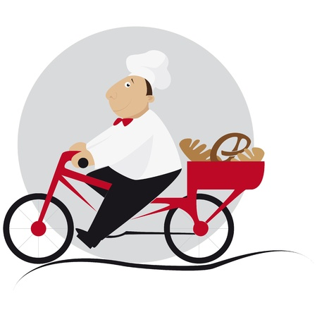 Baker takes the bread in the basket on the bicycle Vector